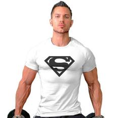 Hequ Superman kebugaran ruang olahraga binaraga kaos oblong (putih) - International