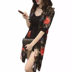 Harga Hequ Wanita Chiffon Cardigan Kimono Cetak Musim Panas Pantai Blus Sifon Kemeja Tabir Surya Kardigan Merah Intl Origin
