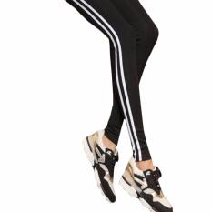 Cuci Gudang Hequ Celana Legging Elastis Motif Garis Untuk Yoga Fitnes Lari Olahraga Warna Hitam