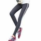 Hequ Women Fashion Stripe Training Sports Yoga Pants Leggings Elastic Gym Fitness Workout Running Tights Dark Grey Intl Hong Kong Sar Tiongkok Diskon