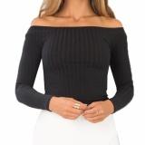 Jual Beli Hequ Women Off Shoulder Women Knitted Tops Pullover Crop Tops Long Sleeve Casual T Shirts Black Intl Hong Kong Sar Tiongkok