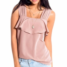 Beli Hequ Wanita Renda Solid Camisole Wanita Tali Lebar Tops Summer Beach Tank Tops Pink Intl Murah