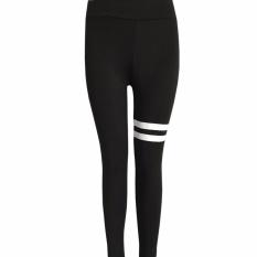 Jual Hequ Wanita Stripe Celana Yoga Workout Legging Olahraga Ballet Dance Activewear Fitness Pakaian Hitam Intl Hequ Ori