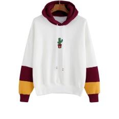 Ongkos Kirim Hequ Wanita Sweatshirt Lengan Panjang Kaktus Print Hoodie Sweatshirt Bertudung Kasual Pullover Tops Keringat Burgundy Intl Di Hong Kong Sar Tiongkok
