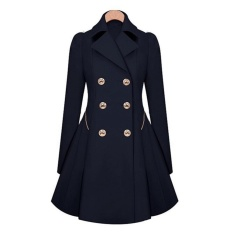 Review Toko Hequ Women Trench Coat Korean Plus Size Lace Slim Double Breasted Trench Coats Women Winter Outwear Clothing Navy Intl Online