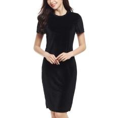 Katalog Hequ Wanita Velvet Sheath Dress O Leher Lengan Pendek Ramping Pensil Kantor Work Wear Gaun Panjang Lutut Intl Terbaru