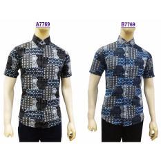 Review Kemeja Batik Pria Slimfit B7769 Blue Koko Kombinasi Muslim Jeans Herman Di Dki Jakarta