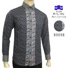 Harga Hemat Herman Batik B9098 Baju Kemeja Batik Slimfit Fashion Pria Jeans Muslim Koko