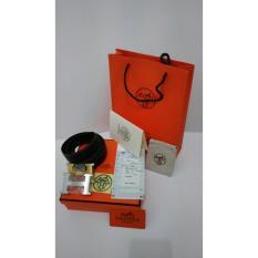 Hermess Ikat pinggang pria Sabuk kulit Gesper hermes Tali pinggang premium Ikat pinggang hermesimport [Hitam]