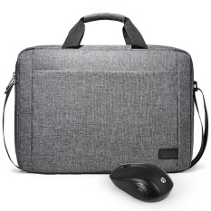 Hewlett-Packard (hp) Genius Fashion Business New 15.6-inch laptop bag waterproof material shoulder with HP mouse mouse set gray Z4 - intl