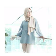 Jual Hfashion Atasan Wanita Lady Cape Light Blue Ori