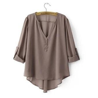 Spesifikasi Hi Lo Lepas Baju Santai Kain Sutera Tipis Didorong Kembali Dengan Detail Abu Abu Bagus