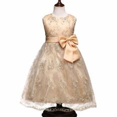 High-end Gaun Bordir untuk Anak Gadis Renda Emas Retro Gaun Putri Baju Pesta Anak-anak Panjang Gaun Fancy Kontes Cantik Prom 2-8 T-emas-Intl