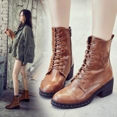 Bertumit Tinggi Martin Boots 2017 Baru Boots dengan Kulit Tebal Boots Di Jantung Inggris Wanita Boots (Brown) -Intl