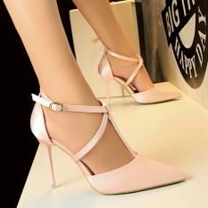 Beli High Heels 2018 High Heels Sandal Wanita Menunjuk Toe Stiletto Tinggi Bertumit Sepatu Merah Muda Tiongkok