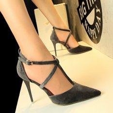 Harga High Heels 2018 Pompa Wanita Sepatu Cross Strap High Heels Sandal Wanita Stiletto Pesta Wanita Ujung Lancip Sepatu Pernikahan Sepatu Suede Ladies Sepatu High Heeled Abu Abu Oem Baru