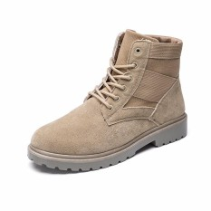 Spesifikasi High Qualit Men Fashion Shoes Male Safety Ankle Boot Cow Leather Work Boots Shoes Intl Baru