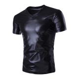 Toko Kualitas Tinggi A0020 Pria Fashion Baru Klub Malam Gaya Berpayet V Leher Kaos Tipis Lengan Bang Pendek Hitam Lengkap