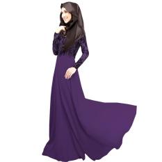 Berkualitas Tinggi Abaya Malaysia Wanita Pakaian Muslim Dress Islam Robe Musulmane Palsu Twinset Renda Muslim Gaun Vestidos Ungu-Intl