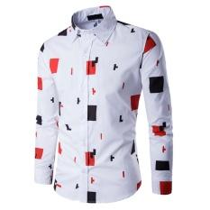 Pria untuk Musim Gugur Berkualitas Tinggi Ramping Kapas Casual Shirt Geometris Cetak Baju Lengan Panjang Pria Pakaian-Intl