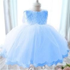 Tinggi Quality Baby Girl Gaun Baptisan Gaun untuk Gadis Bayi 1 Tahun Ulang Tahun Gaun untuk Bayi Perempuan Chirstening Dress (biru) -Intl