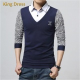Harga Kualitas Tinggi Ukuran Besar M 5Xl Cotton Patchwork Bintik Lengan Panjang Menpolo Shirt Biru Intl Terbaik