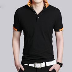 Tinggi Kualitas Fashion Kapas Lengan Pendek Ukuran Besar M-5XL Fat Man Polo Shirt (Hitam)-Intl