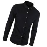 Jual Kualitas Tinggi Slim Gaya Korea Fashion Pria Warna Solid Shirt 2016 Baru Kasual Solid Panjang Lengan Kemeja Pria Hitam Intl Grosir