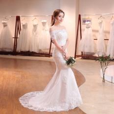 Tinggi Kualitas Renda Appliques Pernikahan Gaun Off Bahu Lengan Pendek Gaun Pengantin dengan Kereta Api (Gading)-Intl