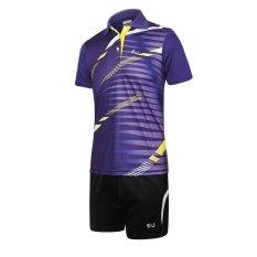 Kualitas Tinggi dan Bocah Laki-laki Lapangan Badminton dan Tenis Meja Olahraga T-shirt dan Celana dengan Bang Bang Pendek Seragam Ditetapkan-ungu (501 M)