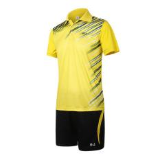Kualitas Tinggi dan Bocah Laki-laki Lapangan Bulutangkis And Tenis Meja Olahraga T-shirt And Pants Bang Pendek Seragam Yang Ditetapkan -kuning (501 M)