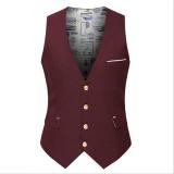 Tinggi Kualitas Pria Waistcoat Summer Korea Casual Slim Fit Rompi Coat Solid Warna Jas Jas Untuk Pria Bisnis Intl Original