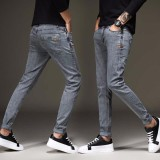 Diskon Tinggi Kualitas Pria Jeans Pensil Slim Fit Pria Youth Cowboy Celana Denim Stretch Fashion Desain Celana Abu Abu Intl