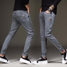Jual Beli Tinggi Kualitas Pria Jeans Pensil Slim Fit Pria Youth Cowboy Celana Denim Stretch Fashion Desain Celana Abu Abu Intl Tiongkok
