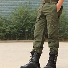 Tinggi Kualitas Men's Jeans Trouser Pria Santai Plus Ukuran Cotton Baggy Pocket Gaya Militer ARMY Kamuflase Celana Kargo (army Hijau)
