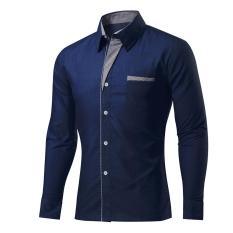 Beli Kualitas Tinggi Model Spring Hot Sale Polos Shirt Slim Fit Panjang Lengan Kemeja Pria Mens Clothing Casual Tee Tops Navy Biru Intl Seken