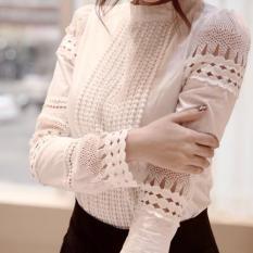 Tinggi Kualitas Spring Musim Gugur Wanita Lengan Panjang Blus Tipis Dasar Tops Hollow Lace Kemeja untuk Wanita XXXL (putih) -Intl