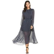 Kualitas Tinggi Sunweb Wanita Jersey Rayon Leher-O Bomber Lengan Panjang Polka Titik Panjang Besar Pesta Pantai Gaun (Gelap Biru) -Internasional