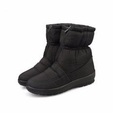 Tinggi Kualitas Musim Dingin Wanita Ankle Boots Sepatu Tahan Air Hangat Plush Wanita Salju Sepatu Ukuran Besar (Hitam)