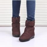 Diskon Tinggi Kualitas Musim Dingin Wanita Ankle Boots Sepatu Tahan Air Hangat Plush Wanita Salju Sepatu Ukuran Besar Brown Branded