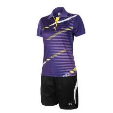 Tinggi Kualitas Perempuan dan Anak Perempuan Lapangan Badminton dan Tenis Meja Olahraga T-shirt dan Celana dengan Bang Bang Pendek Seragam Ditetapkan -ungu (501)