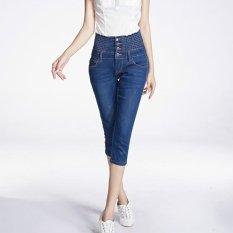 Ulasan Mengenai Tinggi Pinggang Tujuh Jeans Wanita Musim Panas Pinggang Elastis Stretch Koboi Intl