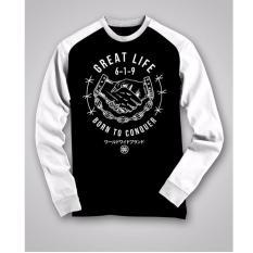 Toko High5 Fashion Pria Kaos Lengan Panjang Great Life Black Yang Bisa Kredit