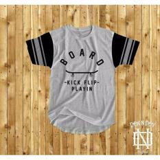 HIGH5 Fashion Pria Kaos Lengan Pendek Skaters tshirt Abu-abu