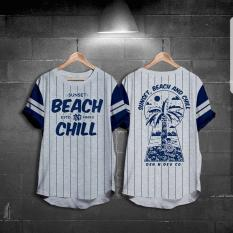 Harga Hemat High5 Fashion Pria Kaos Stripes Beach Chill Abu