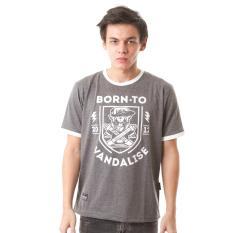 HIGH5 – Kaos Born To Vandalise Abu Gelap Dark Grey Fashion Pria