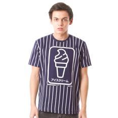 Jual High5 Kaos Eskrim Garis Stripes Biru Dongker Navy Blue Fashion Pria Lengkap