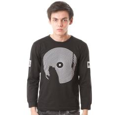 High5 Kaos Long Sleeve Lengan Panjang Hand On Vinyl Music Hitam Black Fashion Pria High5 Diskon 50