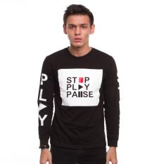 Beli High5 Kaos Pria Lengan Panjang Stop Play Pause Hitam Black