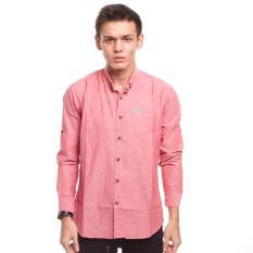 Ulasan Mengenai High5 Kemeja Lengan Panjang Motif Slim Fit Pria Men Fashion Pink Merah Red